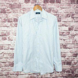 CANALI Men's Button Front Dress Shirt White Blue